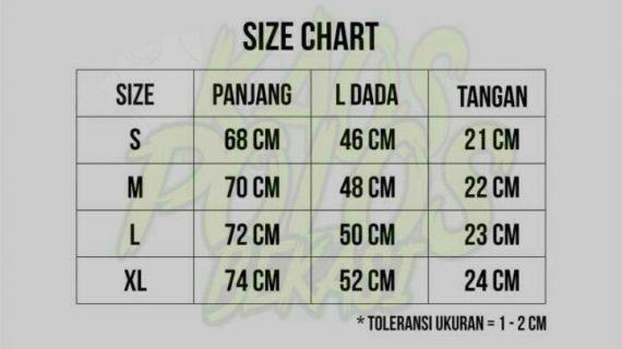 size chart kaos polos bekasi